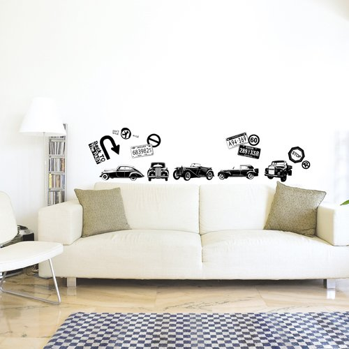 Nursery Easy Apply Wall Sticker Decorations - Classic Car Series
