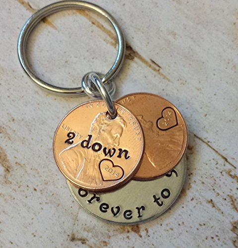 2 Years Down and Forever To Go Anniversary Gift with Two 2014 Pennies Key Chain