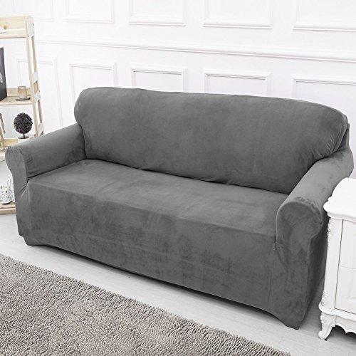 Sofabezug-Sofaschoner-elastischer-Stoff-Grau-2-seater145-185cm