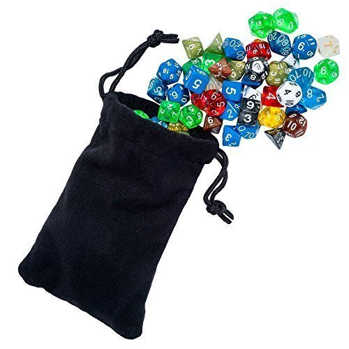 105 Polyhedral Dice For Dungeons And Dragons Or Math Dice Games   Bulk Dice In 15 Complete Sets   RPG Dice Games & D and D   4 Sided, 6 Sided, 8 Sided, 10 Sided, 12 Sided, 20 Sided and Percentile Dice Included   Multi Colored Sets   Bonus Large Durable Velvet & Satin Dice Bag Included   Money Back Guarantee