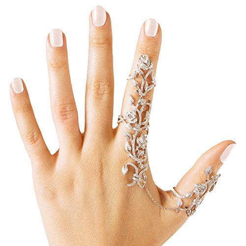 Babeyond® Charm Rhinestones Crystal Chain Link Finger Double Ring Floral Design Free Size (Silver)