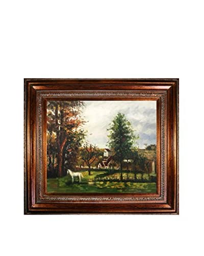 Camille Pissarro's Landscape with a White Horse in a Meadow Framed Hand Painted Oil on Canvas, Multi, 30″ x 34″