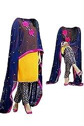 Shree Fashion Women's five star yellow blue bhagalpuri patiyala Unstich Dress