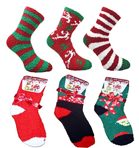 ladies-6-pack-fluffy-christmas-co-zees-socks-with-gift-bow