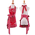Cute Women Girls Red Aprons for Restaurant Kitchen Waitress Ladies Vintage Apron for Gift