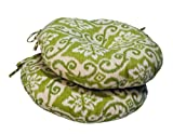 Greendale Home Fashions Round Outdoor Bistro Chair Cushion, 18-Inch, Green Ikat, Set of 2