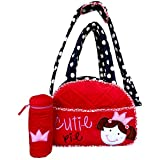 Cutie Pie Diaper Bag + Baby Bottle Cover - Red