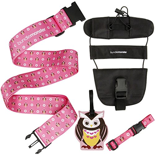Bundle Monster 4 pc Luggage Strap Bungee ID Tag
