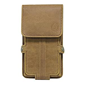 Jo Jo A6 Nillofer Series Leather Pouch Holster Case For Intex Cloud M6 16GB Tan