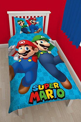"""Character World - Set con copripiumino per letto singolo, motivo """"Nintendo Mario Games"""", multicolore"""