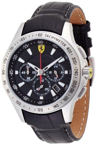 Ferrari  830039 - Reloj de cuarzo para hombre, con correa de cuero, color negro