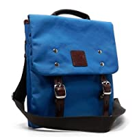 Designer Blan_c Blue Canvas Flap Over I Pad Cross-body Messenger Handbag Bag
