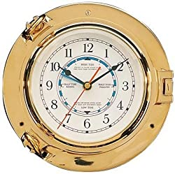 Brass Porthole Tide & Time Clock