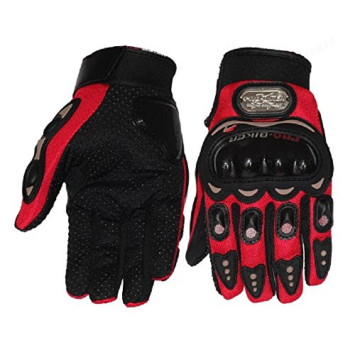 New Full Finger Protective Gear Black Carbon Fiber Pro-Biker Bike Motorcycle Motorbike Racing Gloves Luvas M/L/XL (L, Red)