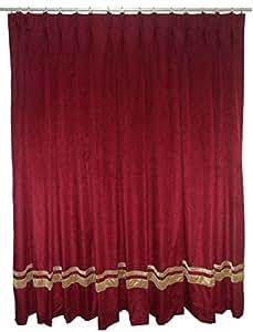 Saaria Burgundy Decorative Door Home Fashion Velvet Pinch Pleated Drapes Curtain