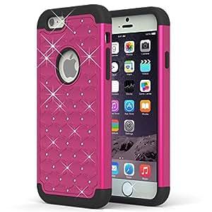 iPhone 6 Plus Case, Pasonomi® Hybrid Stud Rhinestone Bling Armor Defender Case Cover for Apple iPhone 6 Plus 5.5 inch with Dazzling Diamond (Hotpink)