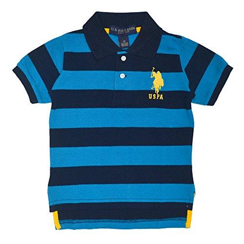 U.S. Polo Assn. Little Boys' Yarn Dyed Striped, Teal Blue, 4T