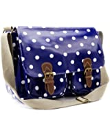 New Oilcloth Polka dots Messenger Cross Body Satchel Shoulder Saddle Bag Large