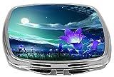 Rikki Knight Compact Mirror, Purple Flowers On Glorious Fantasy Night Sky, 3 Ounce