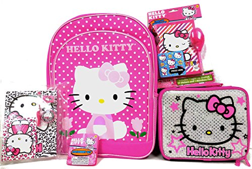 Sanrio Hello Kitty Large Backpack, Lunch box Stationery Set and Light Up Journal 4 Items