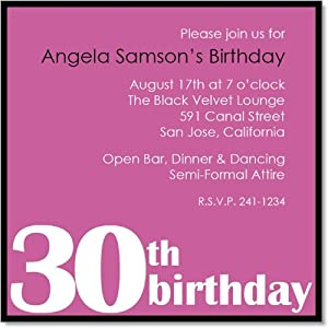 30th Birthday Party Pink And Black Invitations