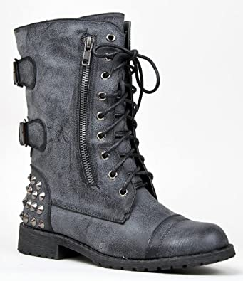 HARLEY-12 Studded Lace Up Distress Buckle Mid Calf Military Combat Boot