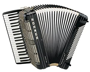 Hohner Morino V 120 Bass De Luxe Piano Accordion, Black from Hohner Inc, USA