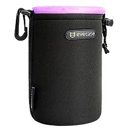 Lens Pouch Evecase Heavy Duty Neoprene Pouch Bag with Soft Flush interior For DSLR Digital Camera Lens - Medium