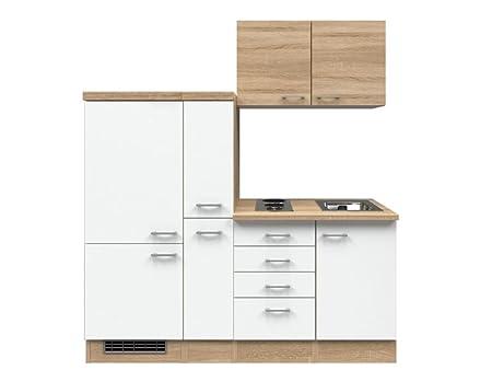 Singlekuche Weiß 190 cm mit Auszugsschrank und Kuhlschrank - Salerno