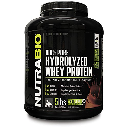 Nutrabio 100% Pure Hydrolyzed Whey Protein Isolate (5 Pounds Chocolate) - Ultra Fast Absorbing Protein Source.