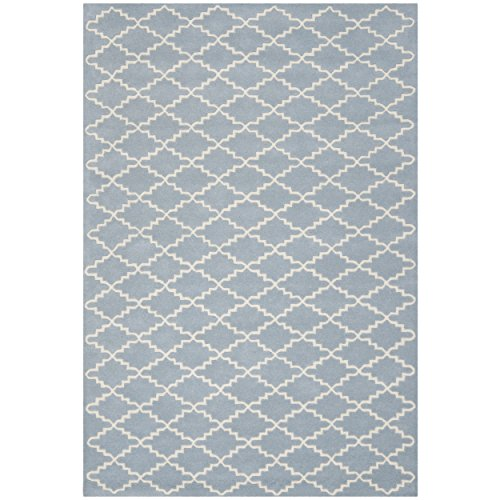 Safavieh Chatham Collection CHT721B Handmade Blue and Ivory Wool Area Rug, 8 feet by 10 feet (8' x 10')
