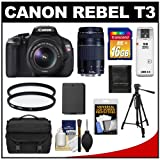 51qFWl gE6L. SL160  Canon EOS Rebel T3 MP Digital SLR Camera Body & EF S 18 55mm IS II Lens with 75 300mm III Lens + 16GB Card + Battery + Case + (2) Filters + Tripod + Cleaning & Accessory Kit 12.2