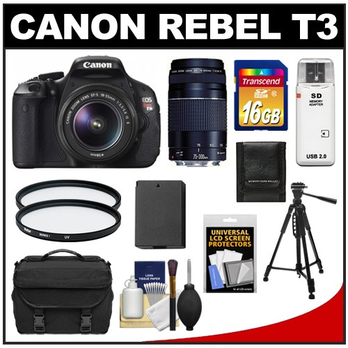 Canon EOS Rebel T3 12.2 MP Digital SLR Camera Body & EF-S 18-55mm IS II Lens with 75-300mm III Lens + 16GB Card + Battery + Case + (2) Filters + Tripod + Cleaning & Accessory Kit