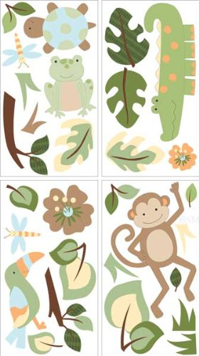 Lambs & Ivy Papagayo Wall Appliques, Green (Discontinued by Manufacturer)