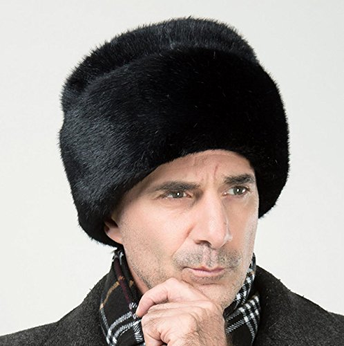 Onlineb2c Men's Faux Mink Fur Hat Russian Cossack Winter Warm Hat Ski Cap (M(57-59cm), Black) (Skull Cap Pattern Sewing compare prices)