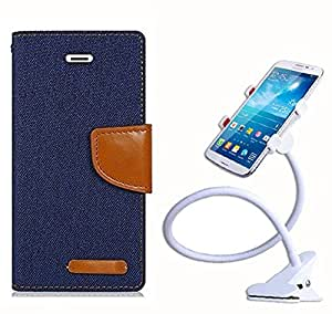 Aart Fancy Wallet Dairy Jeans Flip Case Cover for Nokia620 (Navy Blue) + 360 Rotating Bed Moblie Phone Holder Universal Car Holder Stand Lazy Bed Desktop by Aart store.
