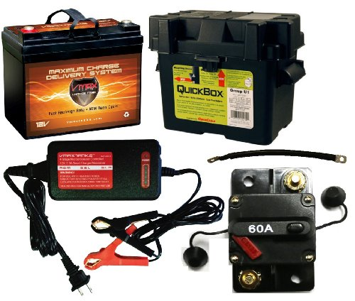 "Boat Battery Kit: VMAX 12V 35ah AGM Battery + Quickbox Marine Battery Box + Waterproof Circuit Breaker + VMAX 12V 4-Stage Smart Charger + (2) 9"" 100% Copper Battery Cables. AGM 35ah Battery Kit Ideal for Boats 18-35 pound thrust motors, Minnkota, Cobra, Sevylor and Other Electric Trolling Motors."
