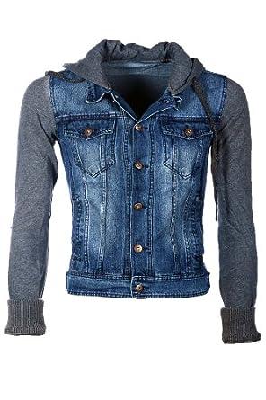 zakus herren jeansjacke mit sweater details und kapuze. Black Bedroom Furniture Sets. Home Design Ideas