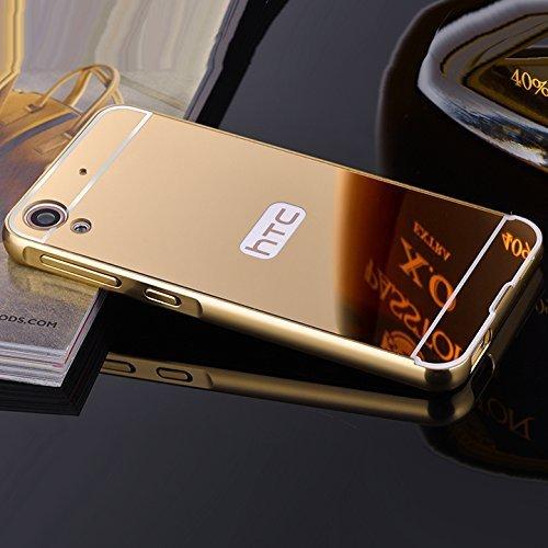 MACC Luxury Aluminium Bumper With Mirror Acrylic Back Cover For HTC Desire 828 dual sim - YELLOWGOLD