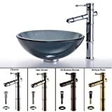 Kraus C-GV-104-12mm-1300CH Black Glass Bamboo Faucet Combo Vessel