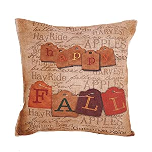 "Home Decorative Cotton Linen Square Happy Fall Vintage Letters Printed Pillow Case Cushion Cover 18"" from Createforlife"