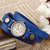 Ailisha Bronze Lady Wrap Bracelet Bangle Blue Leather Quartz Wrist Watch WAA381
