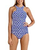 FARYSAYS Women Blue White Tidal Wave High Neck One Piece Maillot Swimsuit XXL