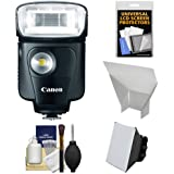 Canon Speedlite 320EX Flash with LED Light & Soft Box + Reflector + Accessory Kit for EOS 6D, 70D, 5D Mark II III, Rebel T3, T3i, T4i, T5, T5i, SL1 Cameras