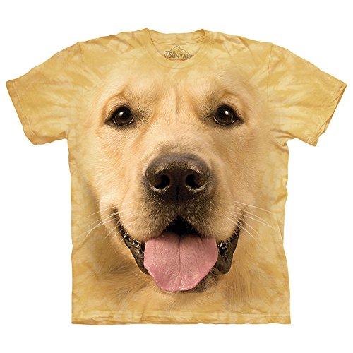 The Mountain Cotton Big Face Golden Design Novelty Adult T-Shirt (Yellow, M)