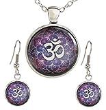 DaisyJewel Purple Lotus Om Pendant Necklace and Dangle Earrings Yoga Jewelry Set