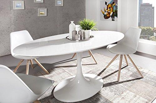 Moderner yacht design esstisch wei hochglanz 160 cm oval for Tisch design oval