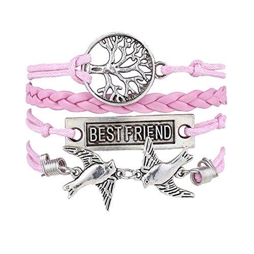 Retro leggerò Uming vino fatto a mano braccialetto bracciale braccialetto con ciondolo mano ying-yang (2bird Series), lega metallica, colore: Tree Best Friend, cod. HAND-JE-1000047