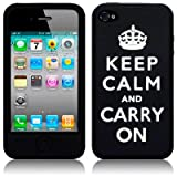IPHONE 4 / IPHONE 4G BLACK/WHITE KEEP CALM AND CARRY ON LASERED SILICONE SKIN / CASE / COVER / SHELLby TERRAPIN