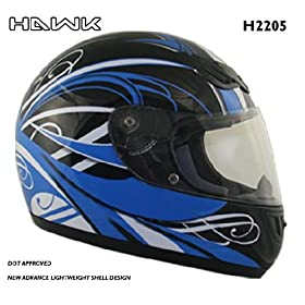 Advance HAWK Blue with White Graphics on Black Glossy Full Face Motorcycle Helmet - Size : Large